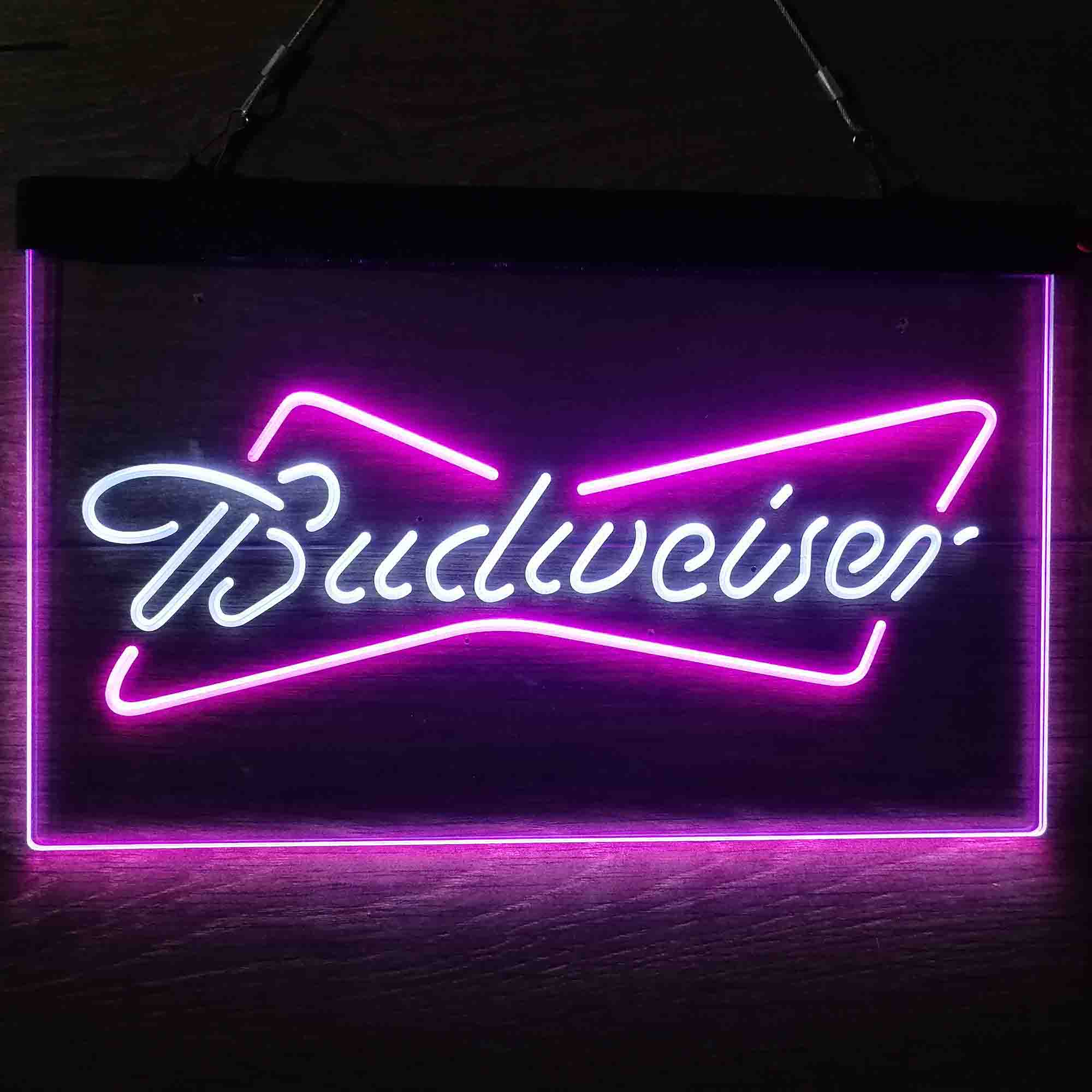 Budweiser Classic Beer Bar Dual Color LED Neon Sign ProLedSign