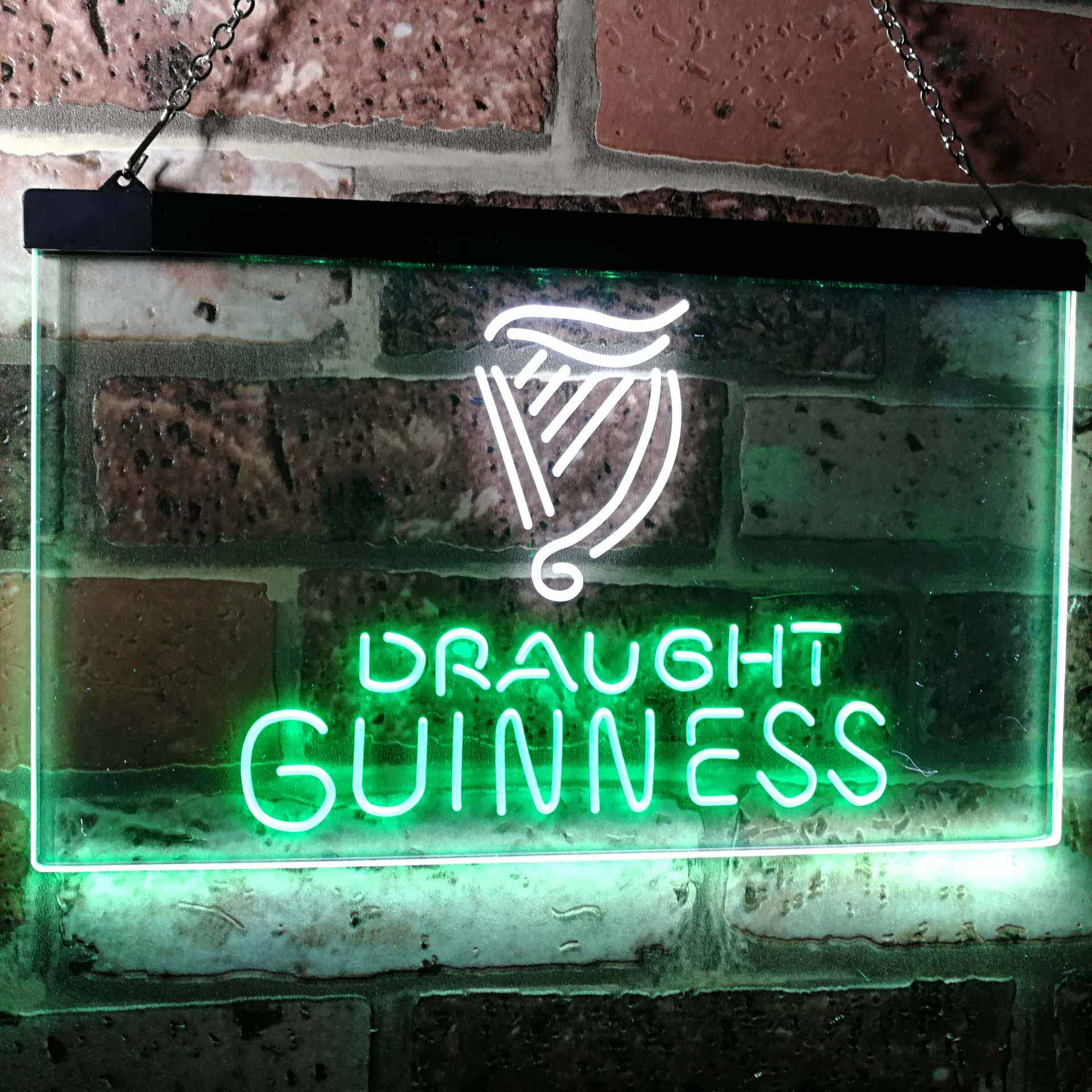 Guinness Draught on tap Beer Bar Decor Dual Color LED Neon Sign ProLedSign