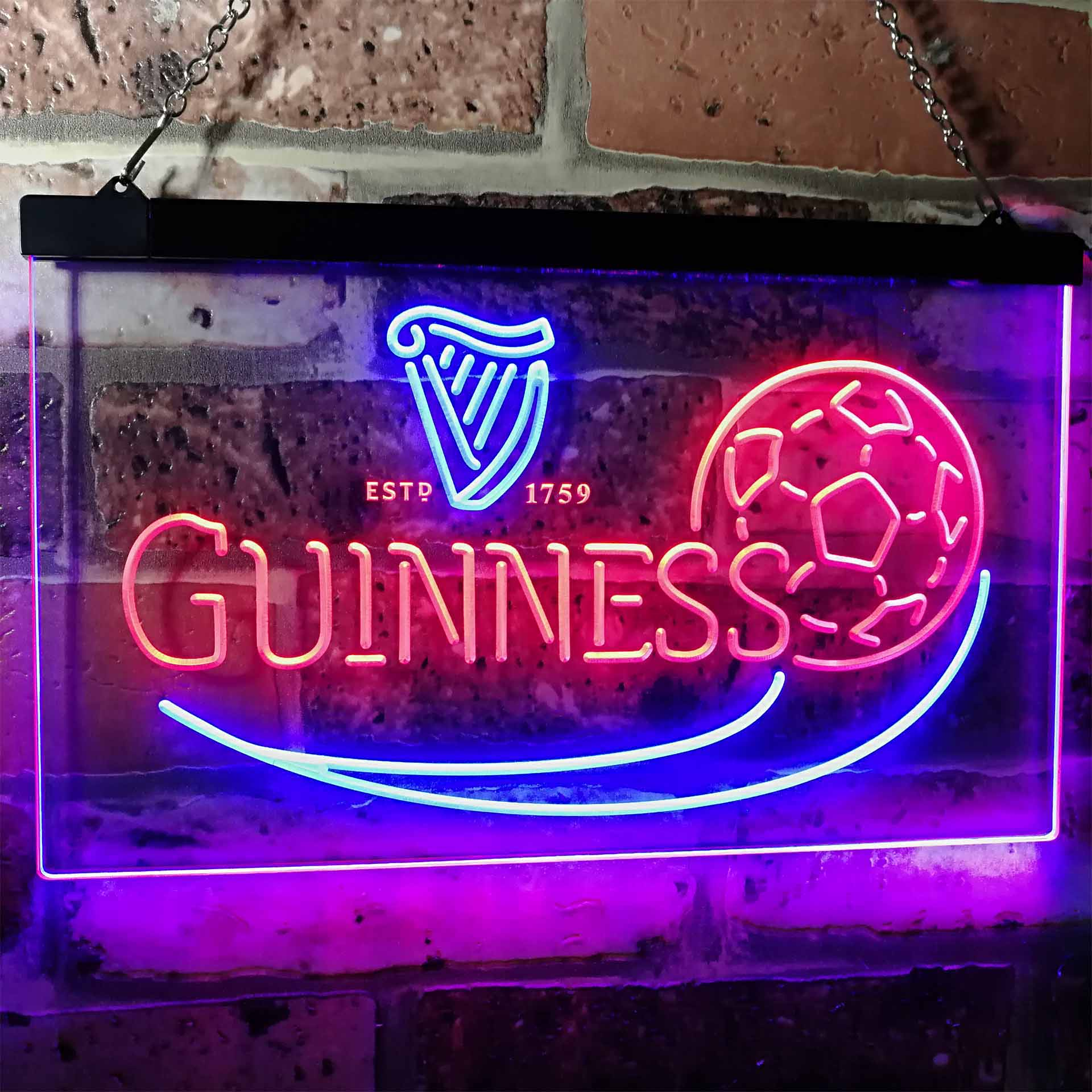 Guinness Soccer Football Beer Bar Decor Dual Color LED Neon Sign ProLedSign