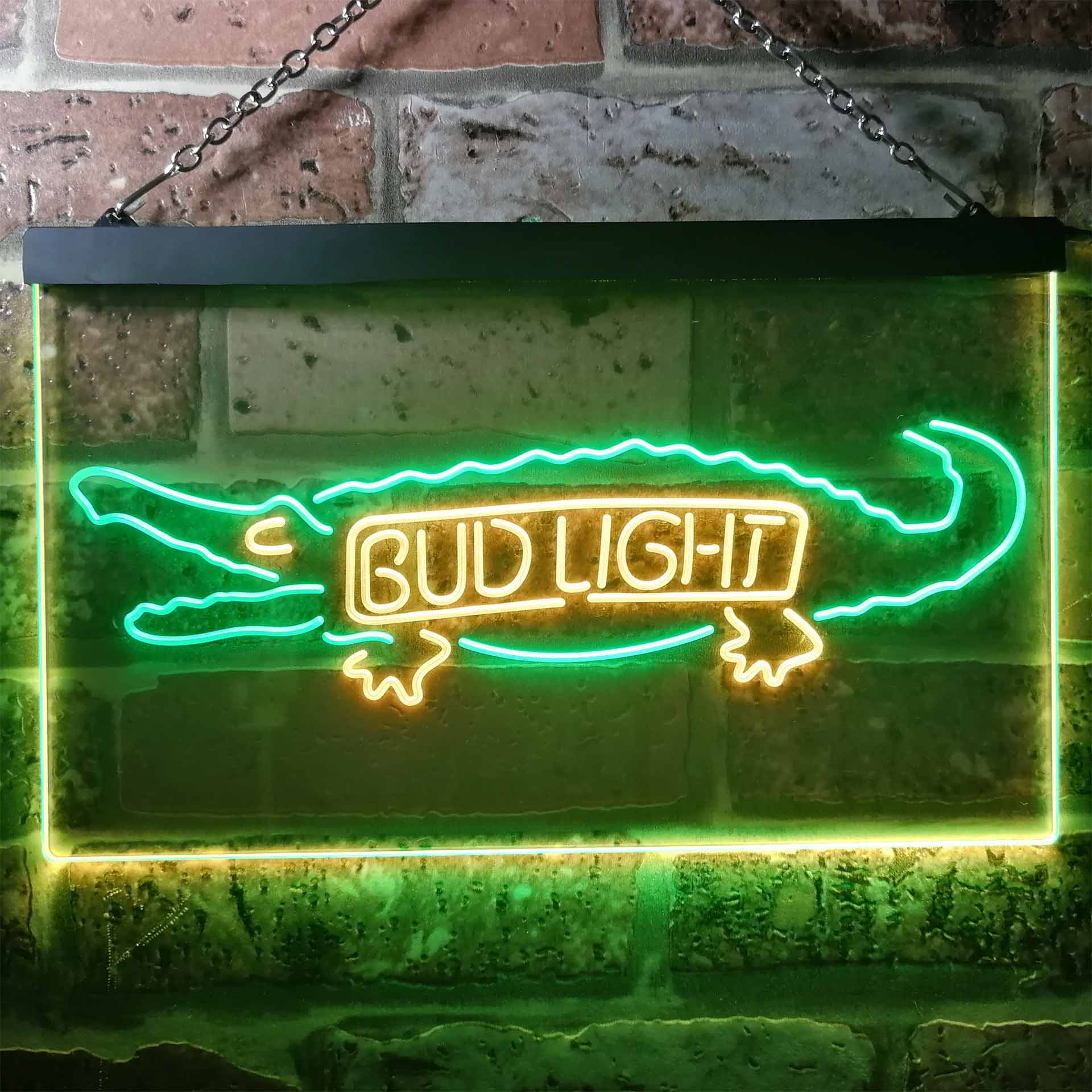 Bud Light Alligator Gator Beer Dual Color LED Neon Sign ProLedSign