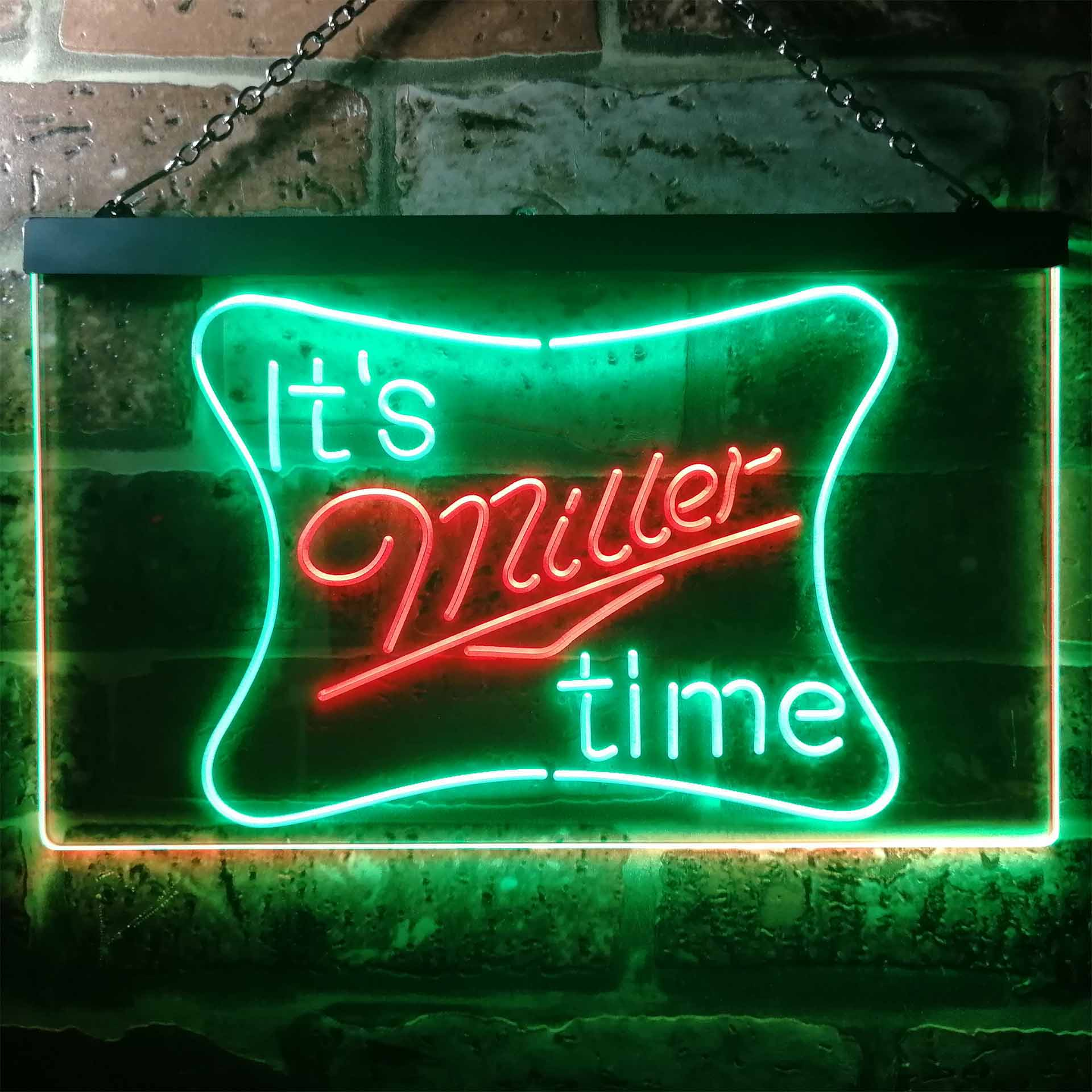 It's Miller Time Beer Bar Dual Color LED Neon Sign ProLedSign