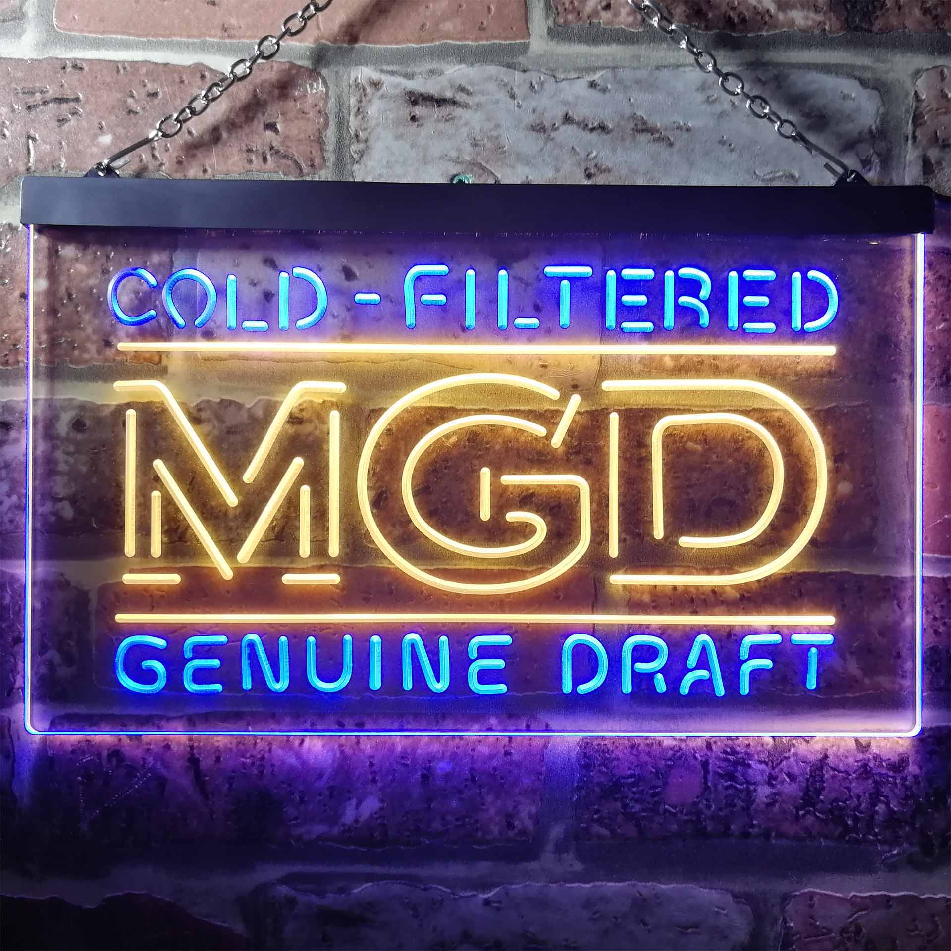 Miller MGD Genuine Draft Dual Color LED Neon Sign ProLedSign
