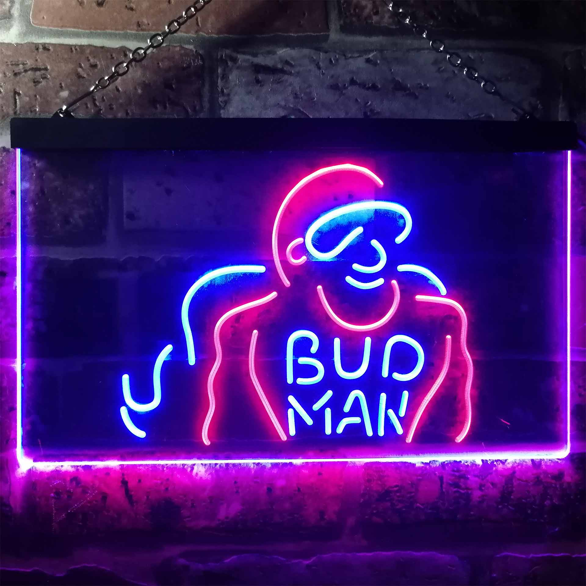 Bud Man Beer Man Cave Dual Color LED Neon Sign ProLedSign