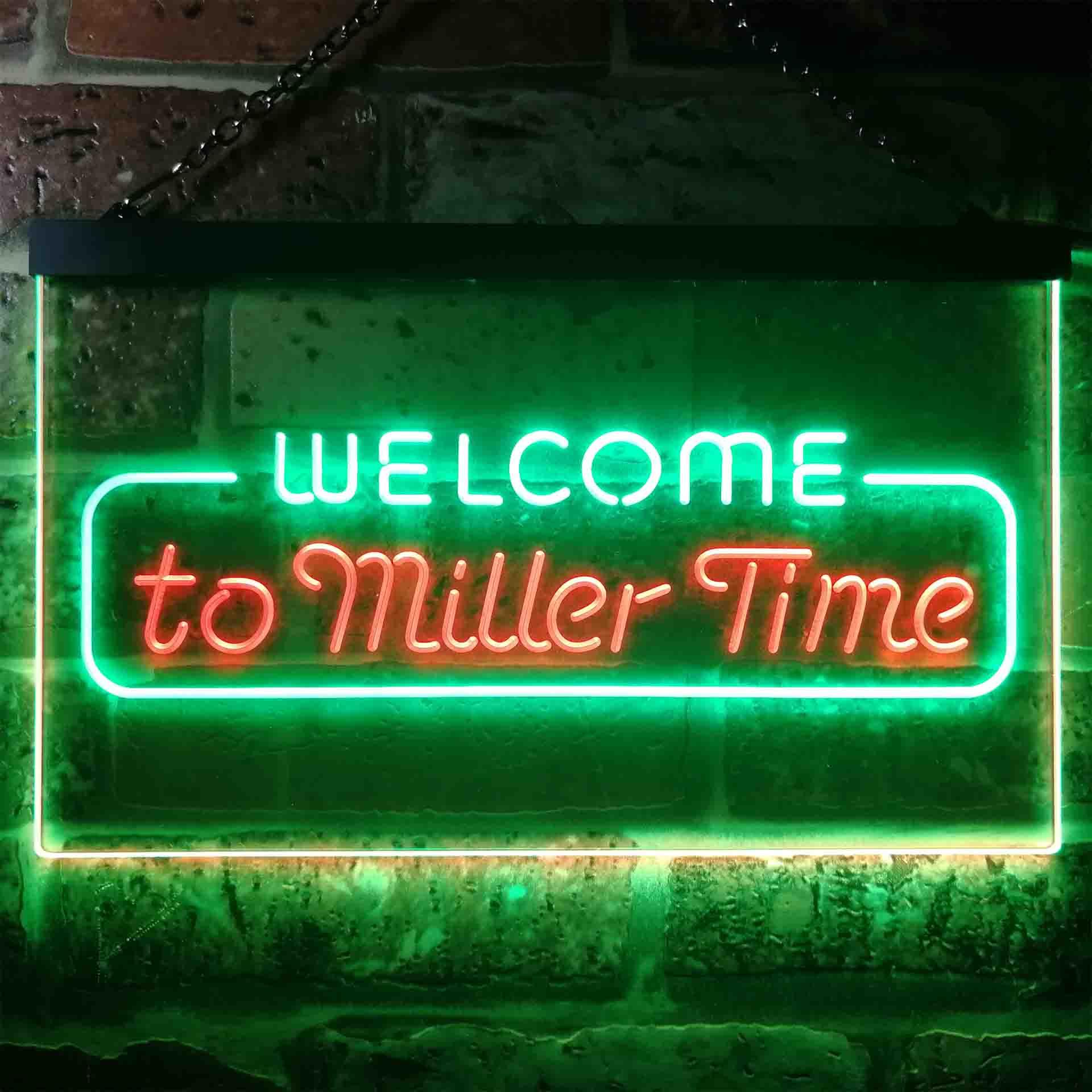 Welcome Miller Time Bar Dual Color LED Neon Sign ProLedSign