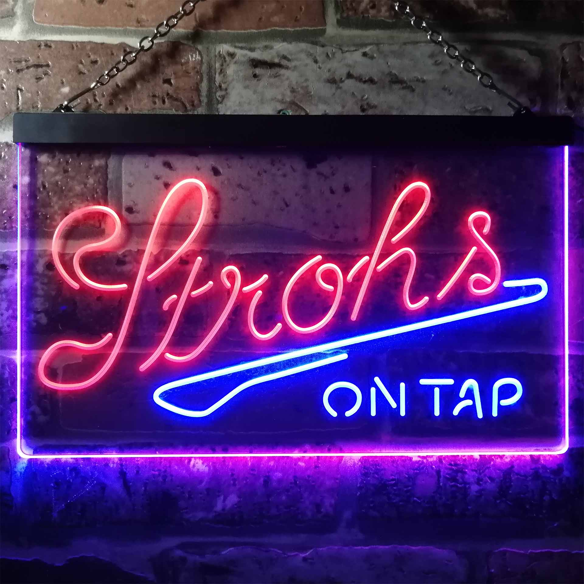 Strohs On Tap Beer Bar Dual Color LED Neon Sign ProLedSign