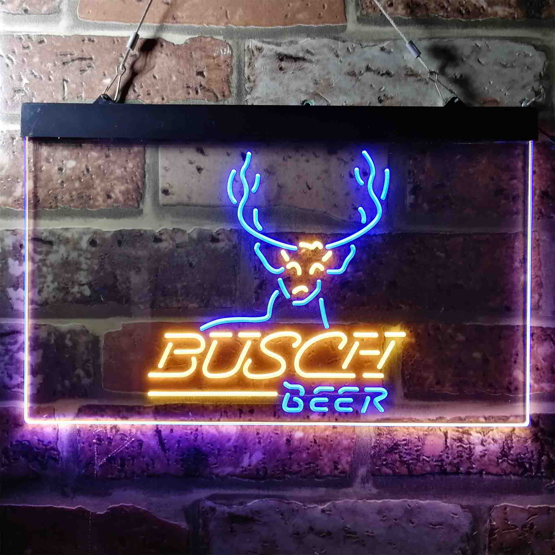 Busch Beer Cabin Deer Hunt Neon-Like LED Sign