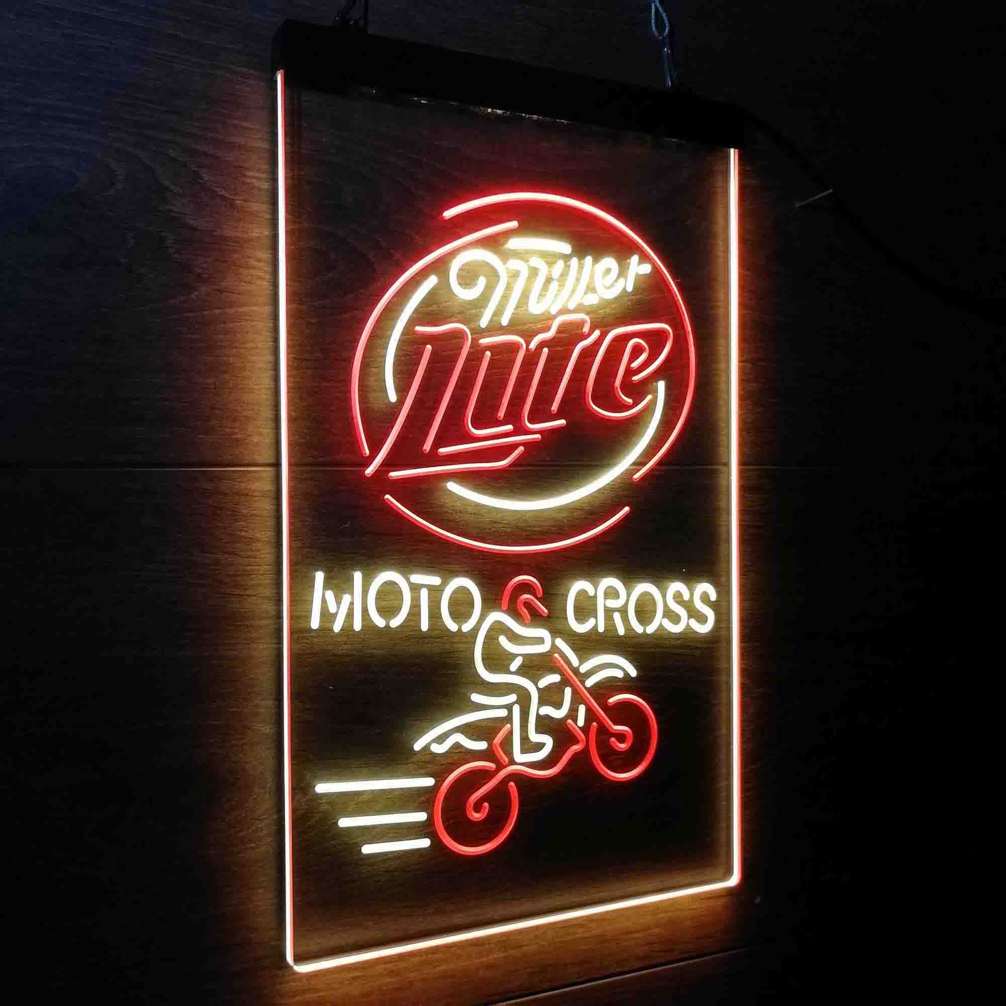 Miller Lite Moto Cross Motor Bike Sport Neon-Like LED Sign