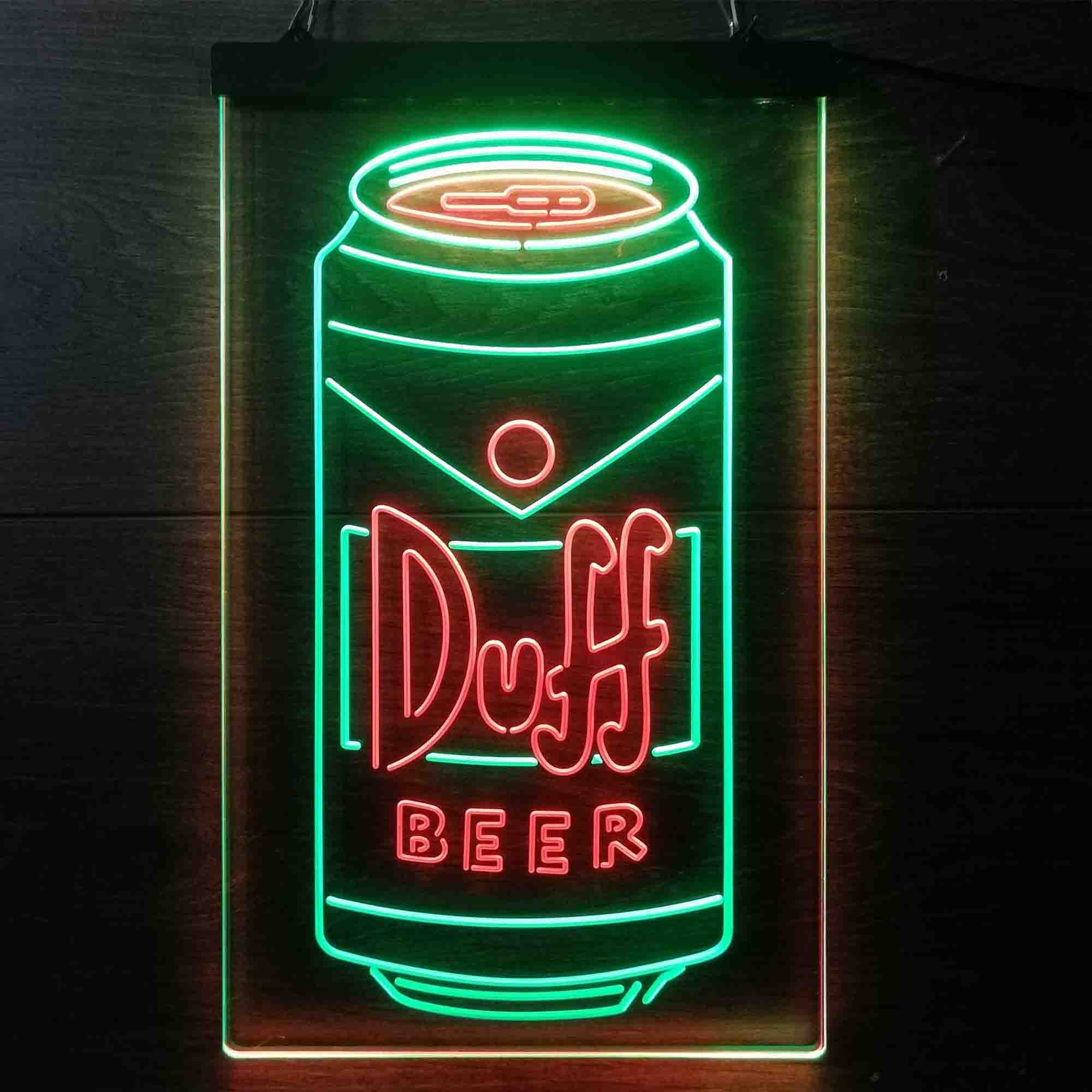 Duff Beer Bottle Vertical Dual Color LED Neon Sign ProLedSign