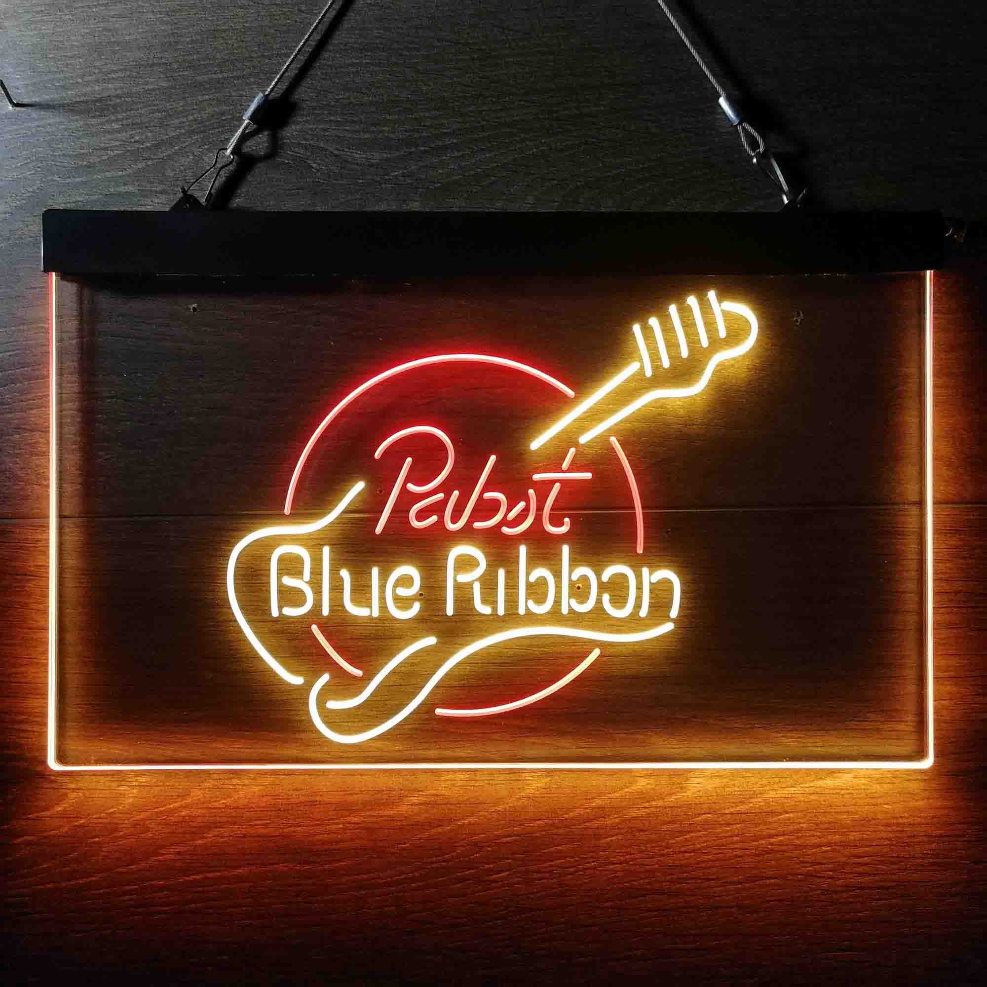 Pabst Blue Ribbon Guitar Dual Color LED Neon Sign ProLedSign