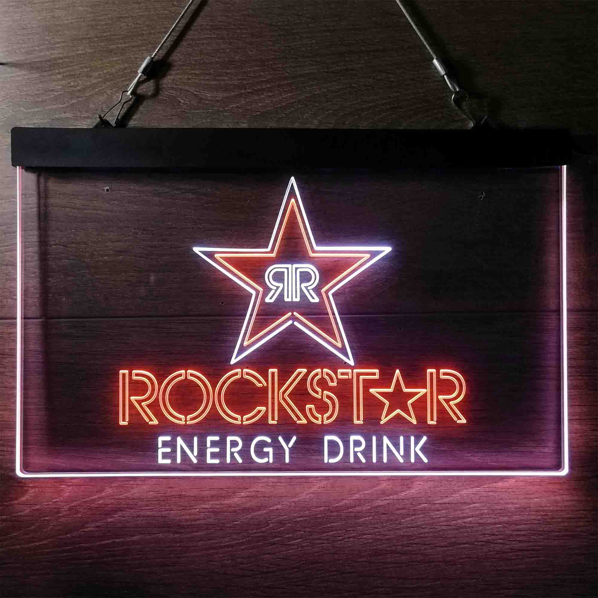 Rockstar Energy Drink Double Star Dual Color LED Neon Sign ProLedSign