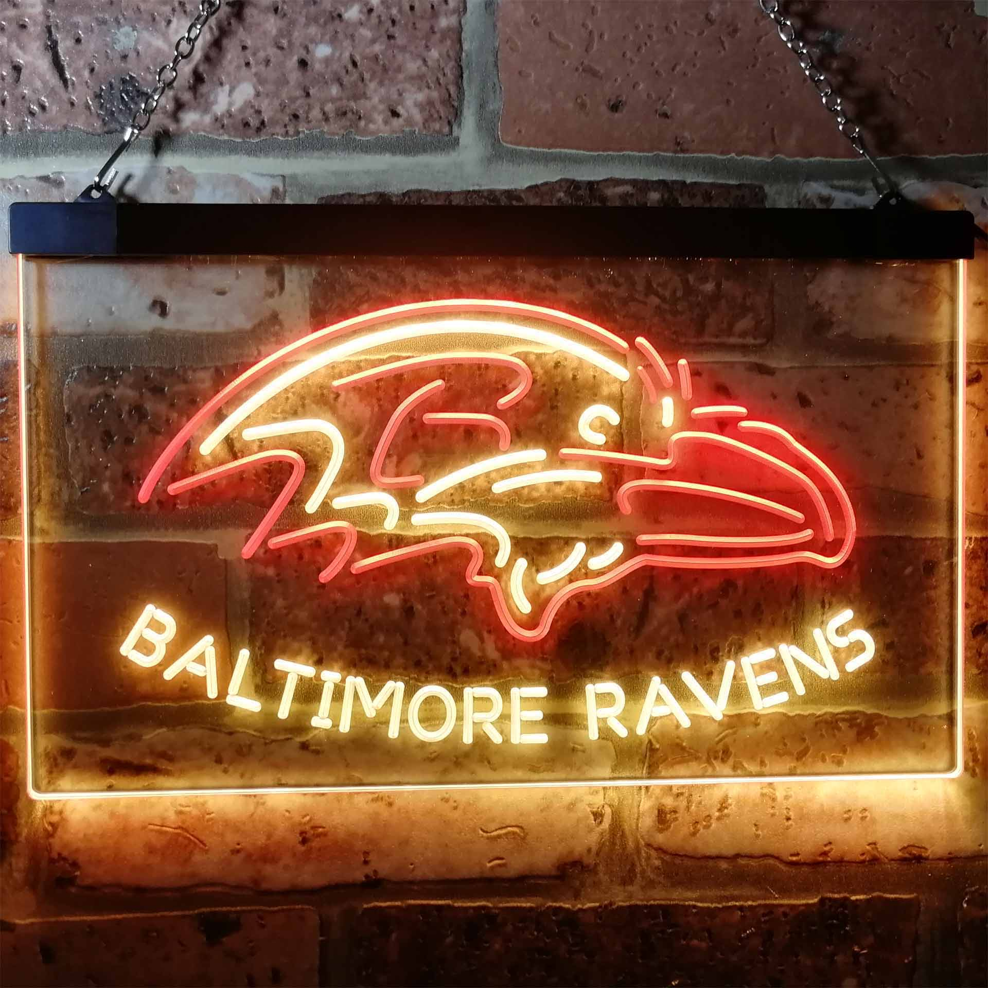 Baltimore Ravens Football Bar Dual Color LED Neon Sign ProLedSign