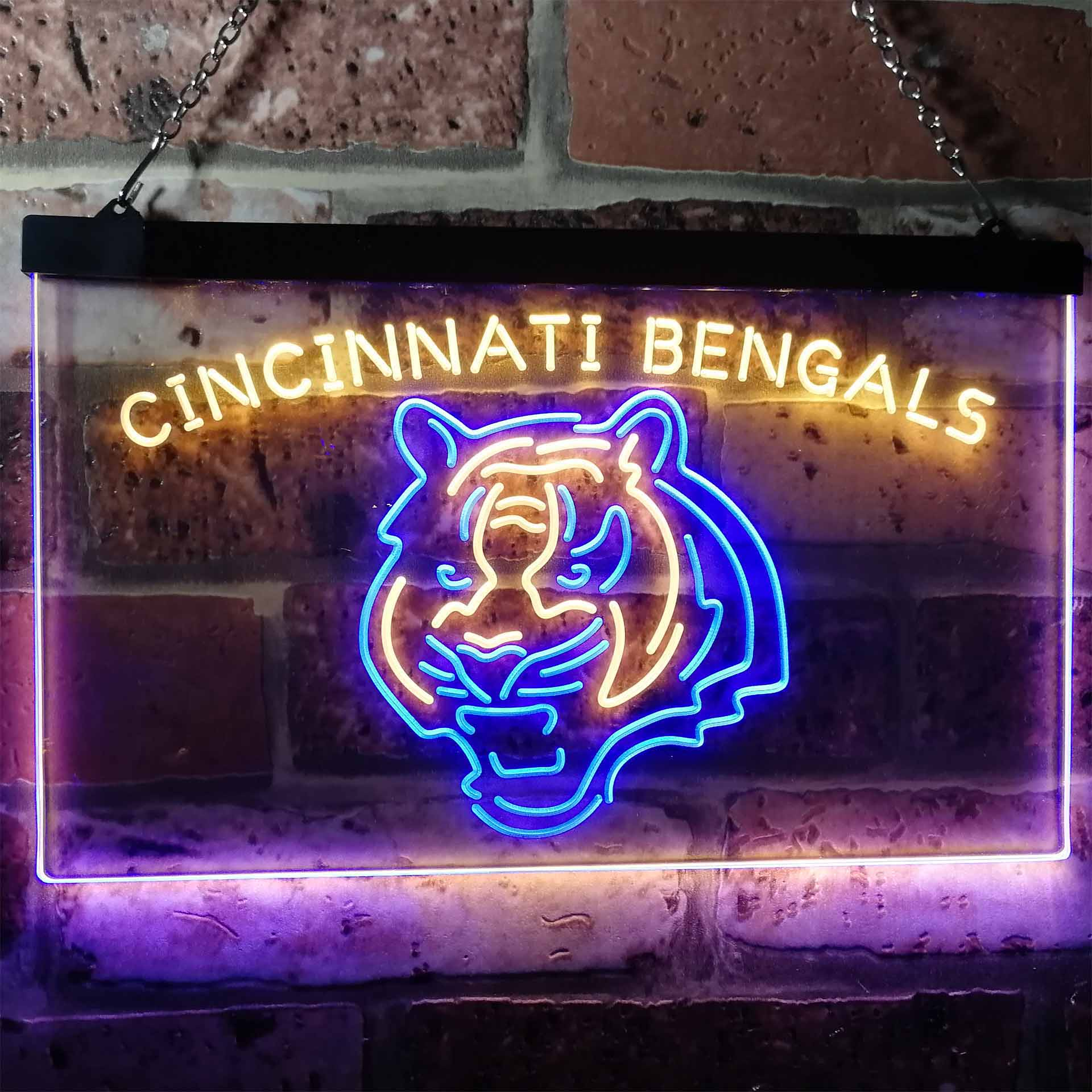 Cincinnati Bengals Football Bar Decor Dual Color LED Neon Sign ProLedSign