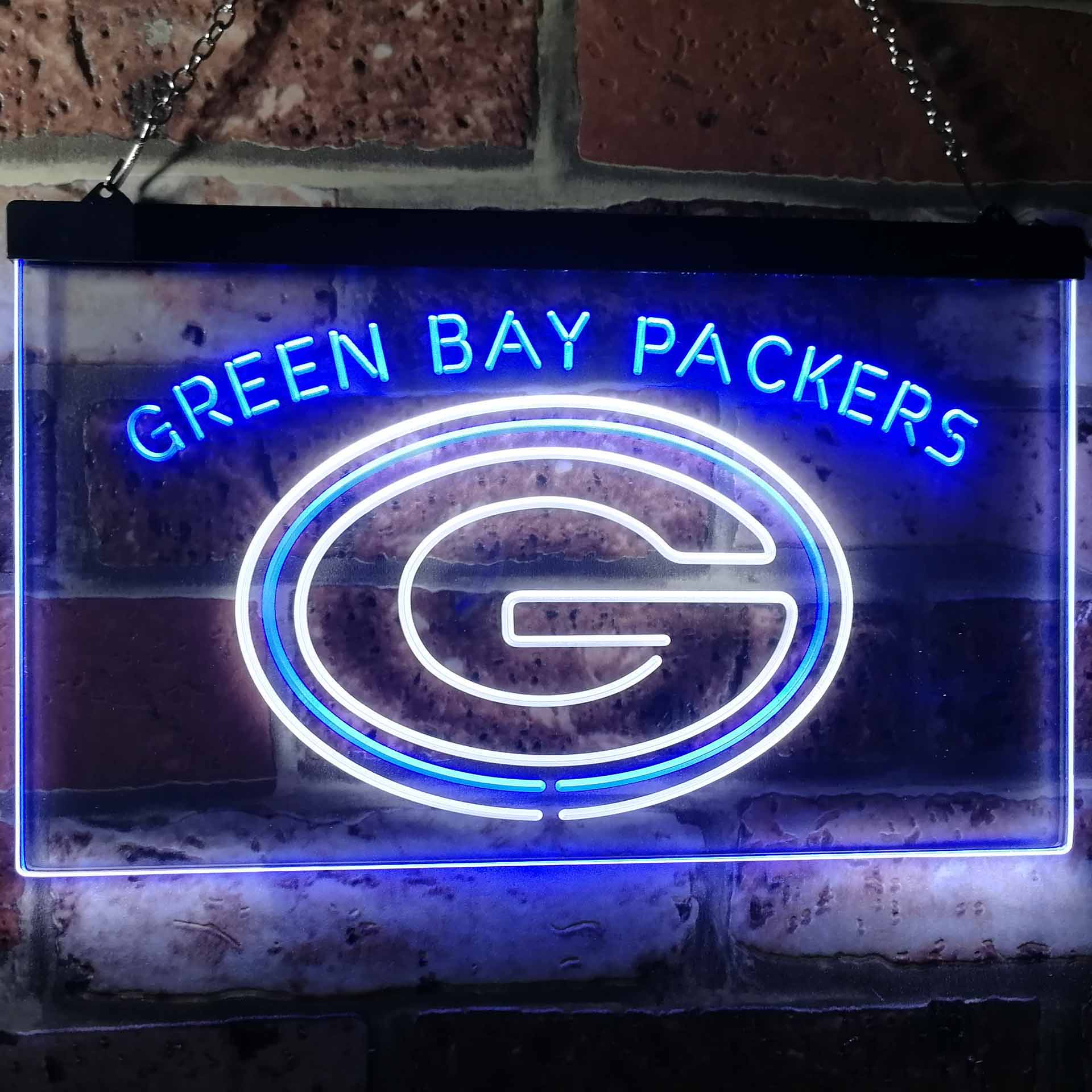 Green Bay Packers Football Bar Decor Dual Color LED Neon Sign ProLedSign