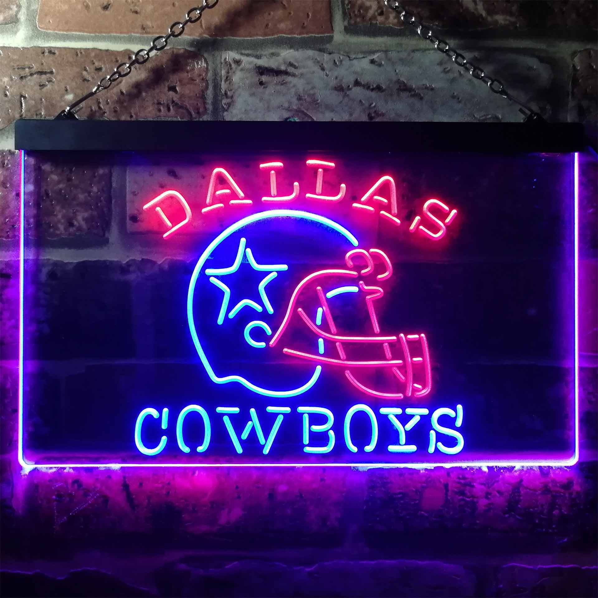 Dallas Cowboys Helmet Dual Color LED Neon Sign ProLedSign