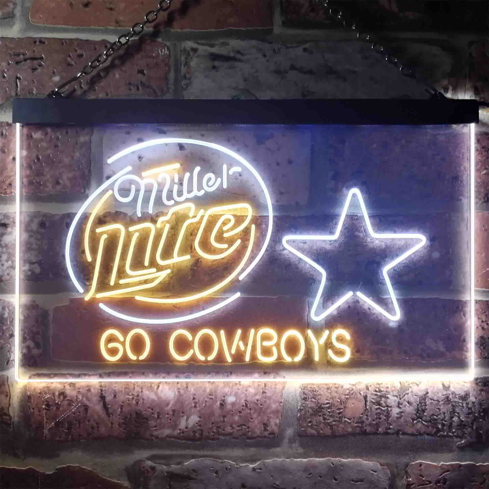 Miller Lite Dallas Cowboys Go Dual Color LED Neon Sign ProLedSign