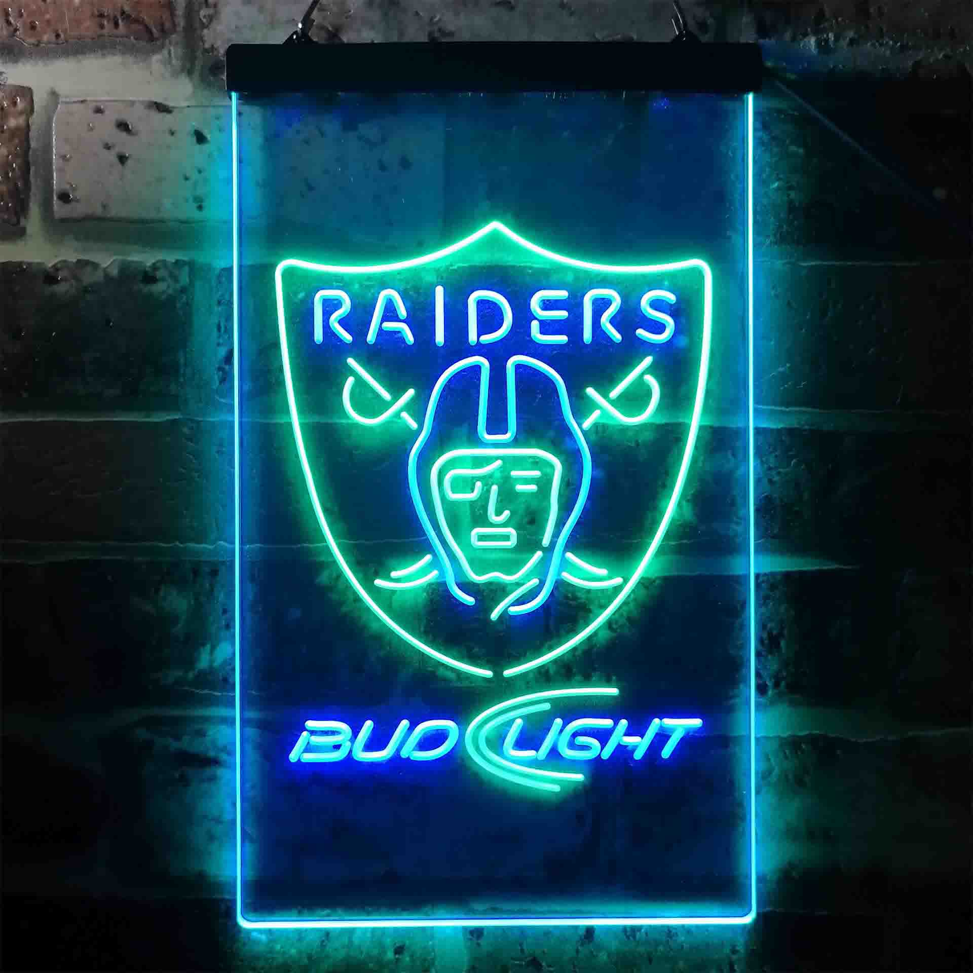 Bud Light Oakland Raiders Dual Color LED Neon Sign ProLedSign