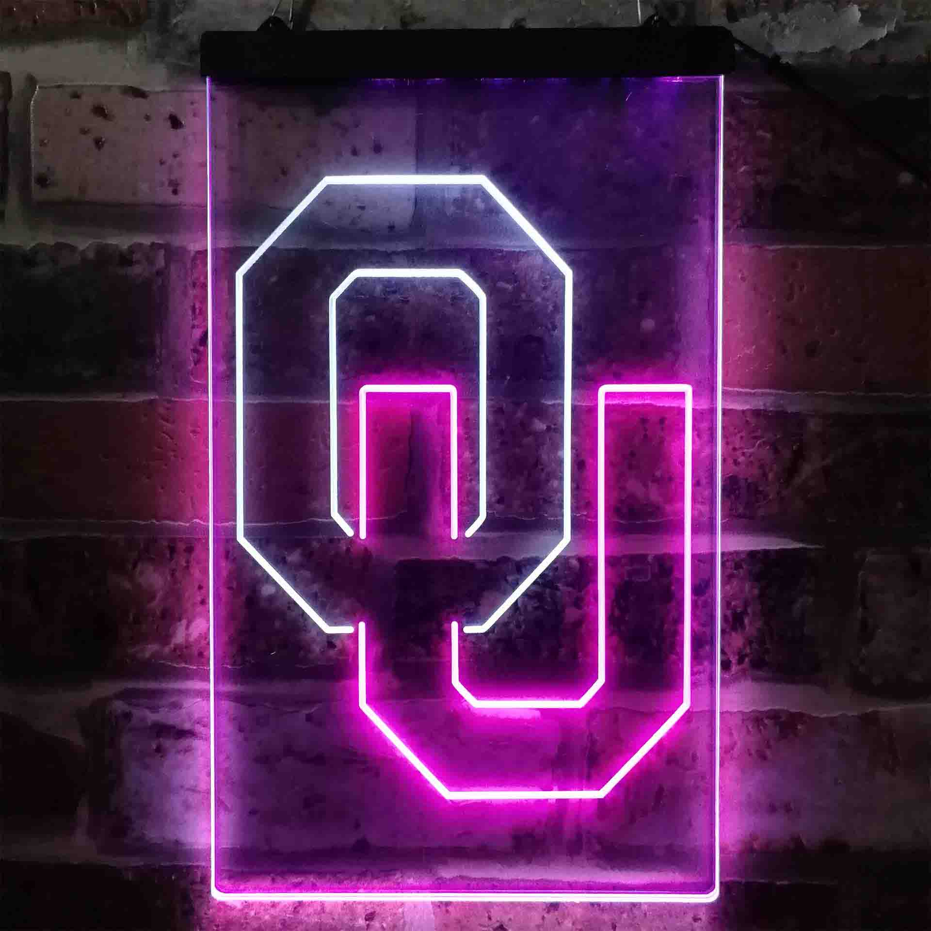 University Football Sport Team Oklahoma Sooners Dual Color LED Neon Sign ProLedSign