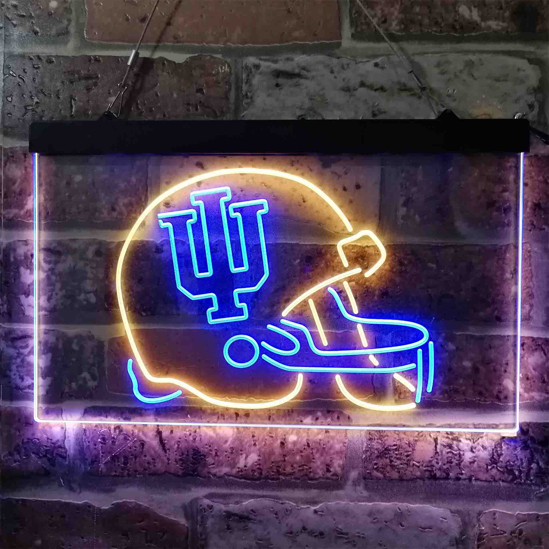 University Football  Sport Team Indiana Hoosiers Helmet Dual Color LED Neon Sign ProLedSign