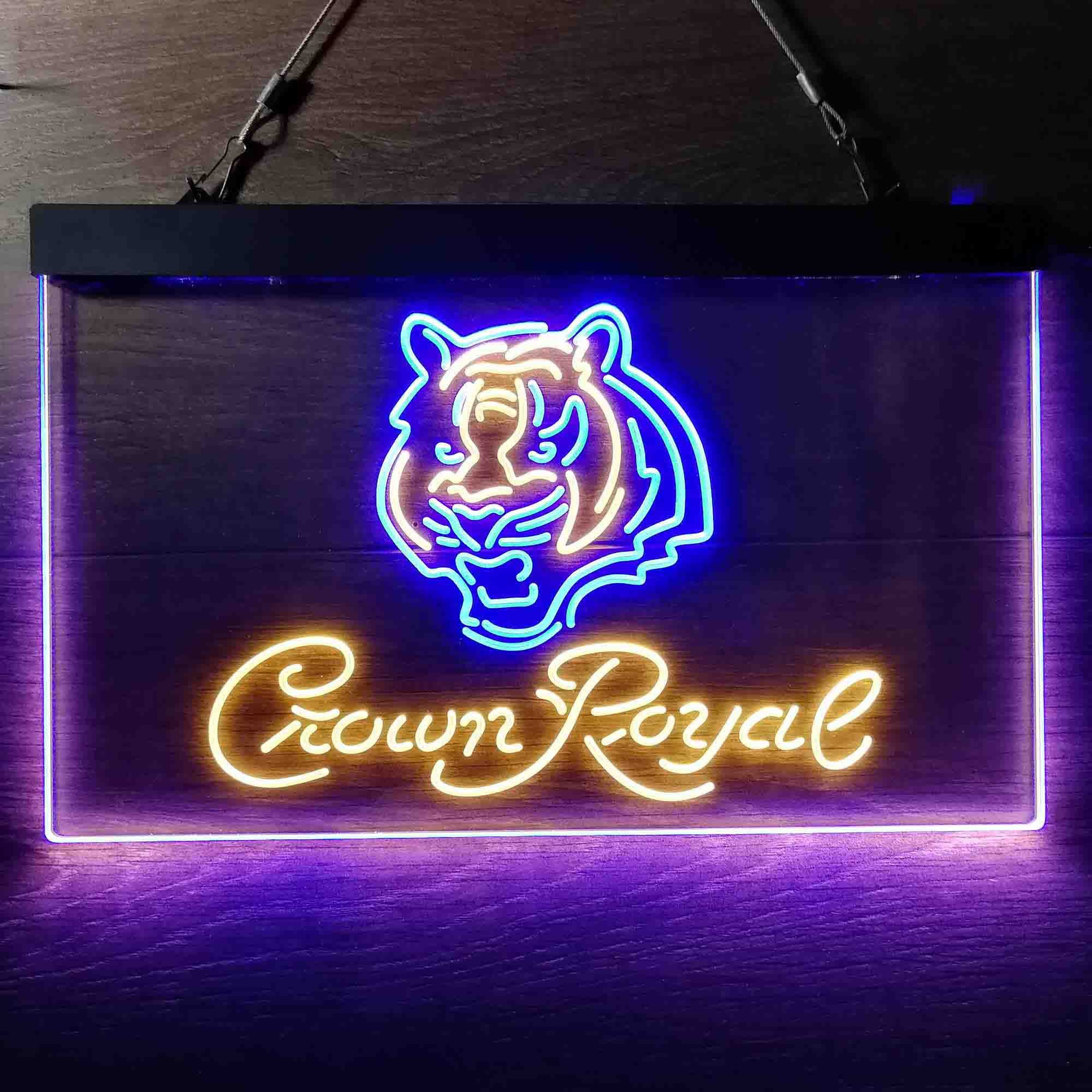 Crown Royal Bar Cincinnati Bengals Est. 1968 Neon-Like LED Sign