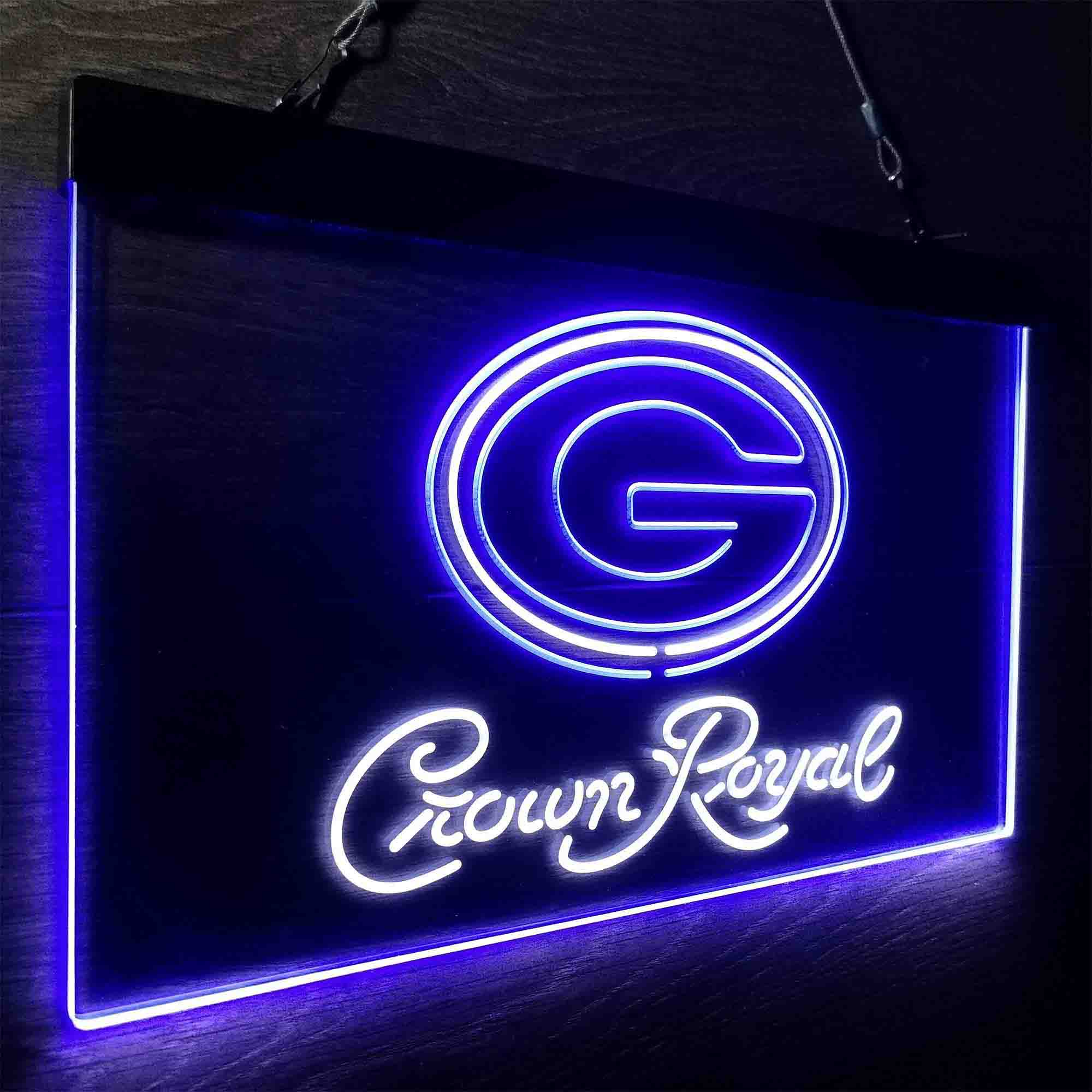 Crown Royal Bar Green Bay Packers Est. 1919 Neon-Like LED Sign