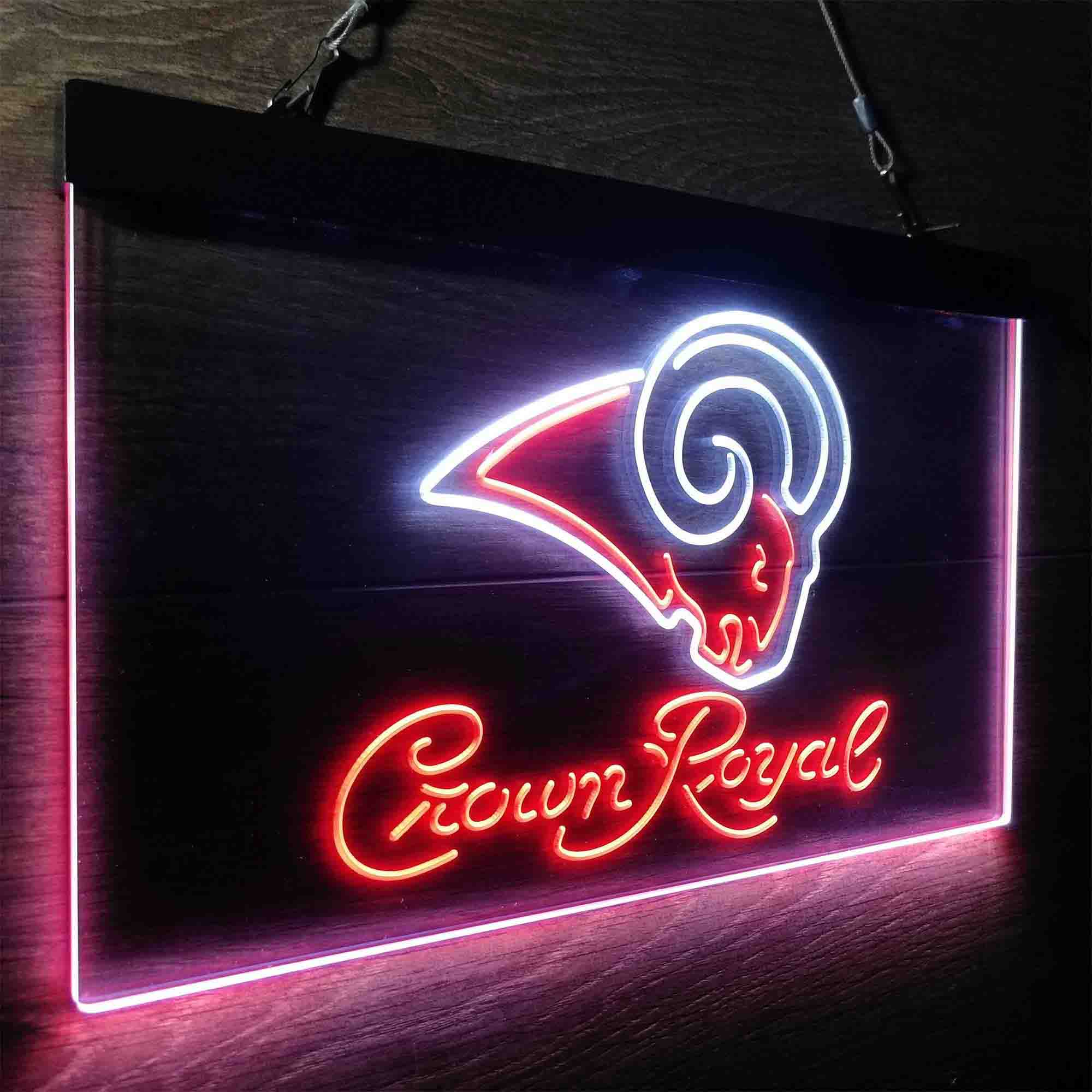 Crown Royal Bar Los Angeles Rams Est. 1937 Neon-Like LED Sign