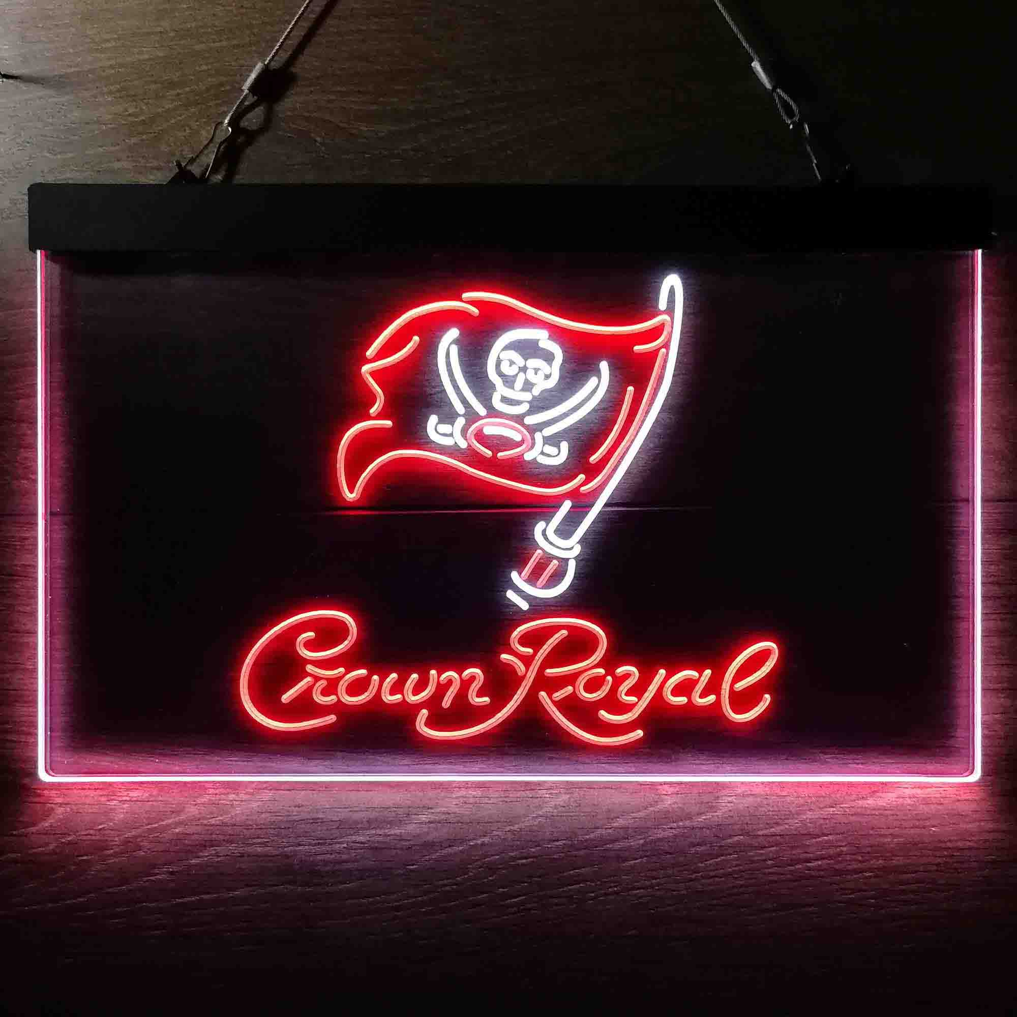 Crown Royal Bar Tampa Bay Buccaneers Est. 1976 Dual Color LED Neon Sign ProLedSign