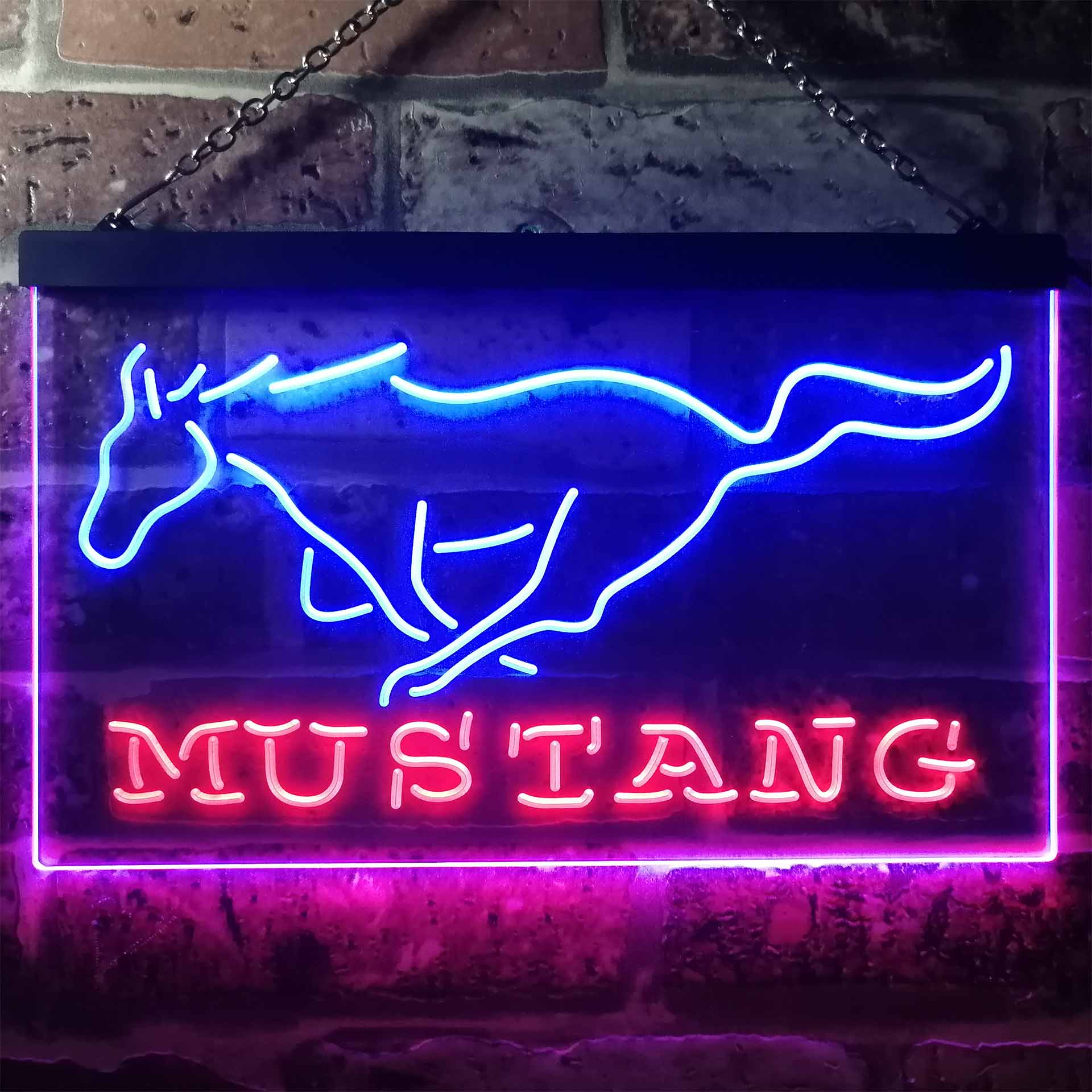 Mustang Ford Dual Color LED Neon Sign ProLedSign