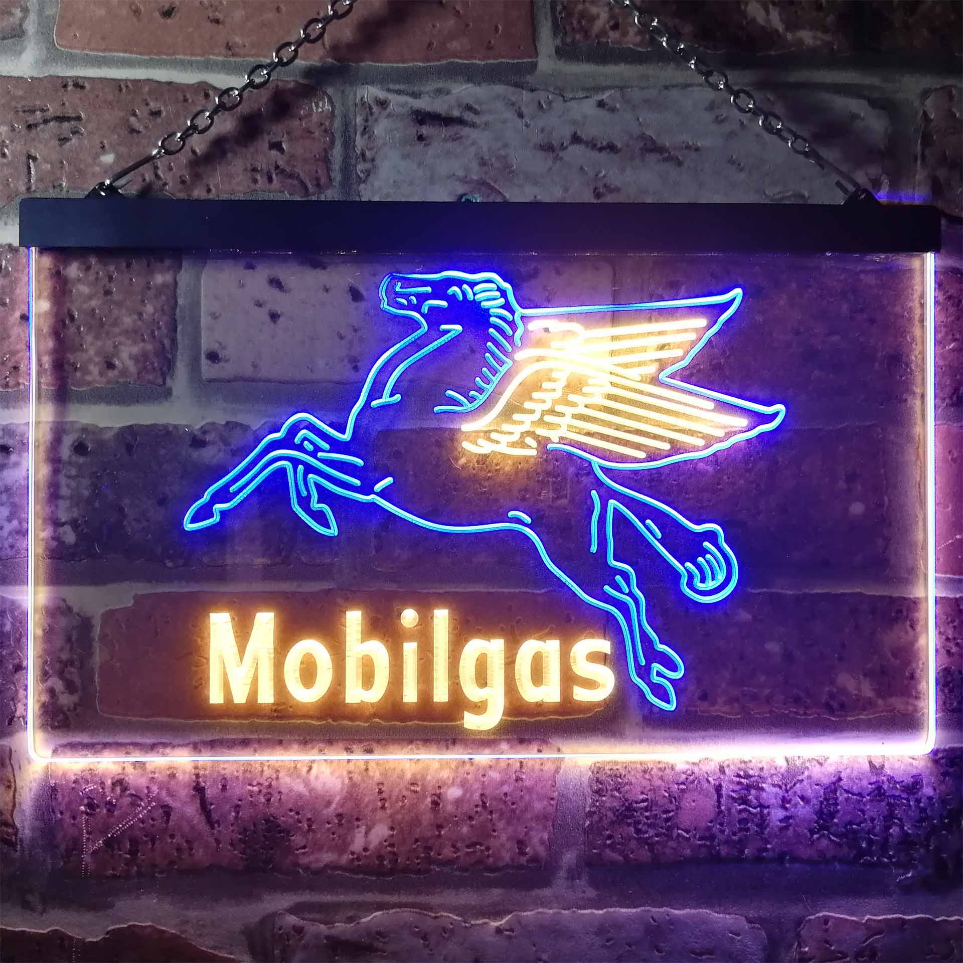 Mobil Gas Flying Horse Dual Color LED Neon Sign ProLedSign