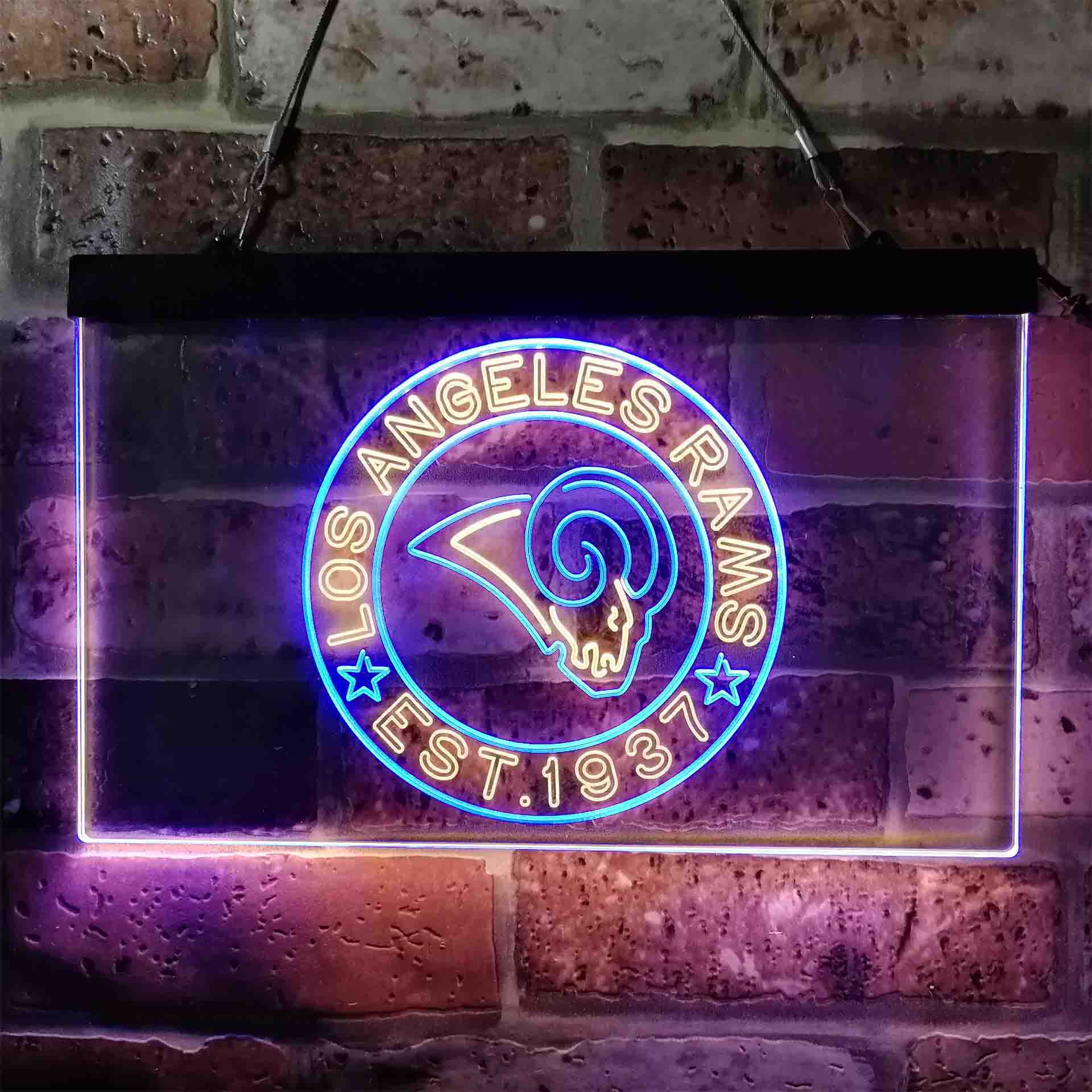 Personalized Custom Your Sport Team Rams Est. 1937 Dual Color LED Neon Sign ProLedSign