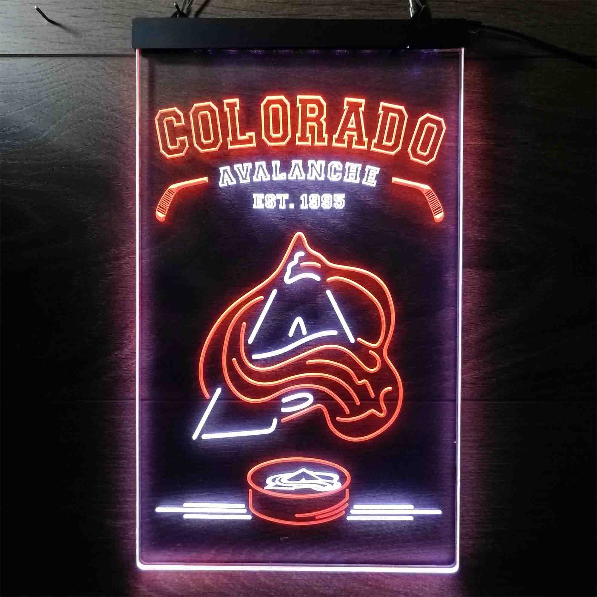 Personalized Custom Your Sport Team Avalanche Est. 1995 Dual Color LED Neon Sign ProLedSign