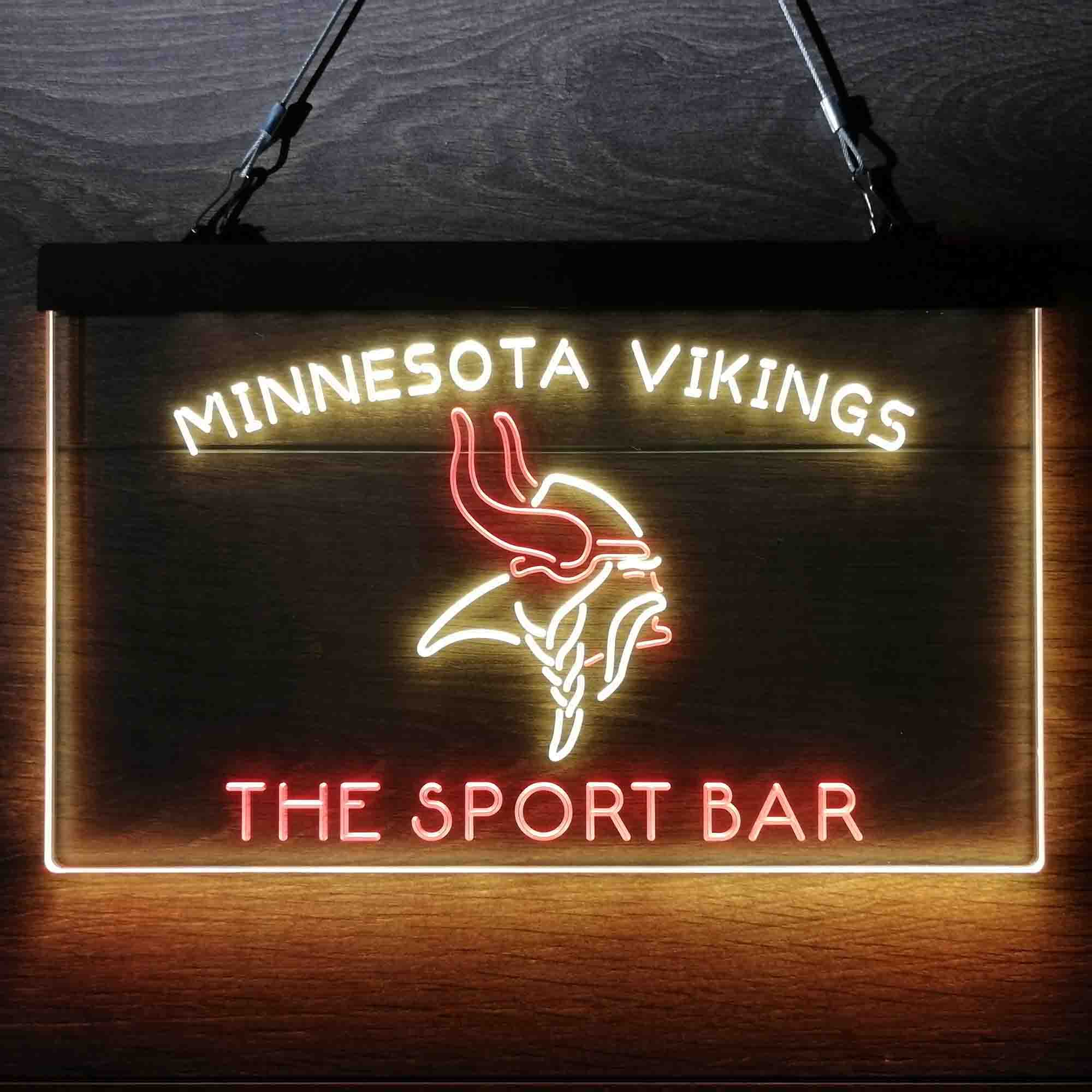 Custom Personalized Minnesota Vikings NFL Football Club Dual Color LED Neon Sign