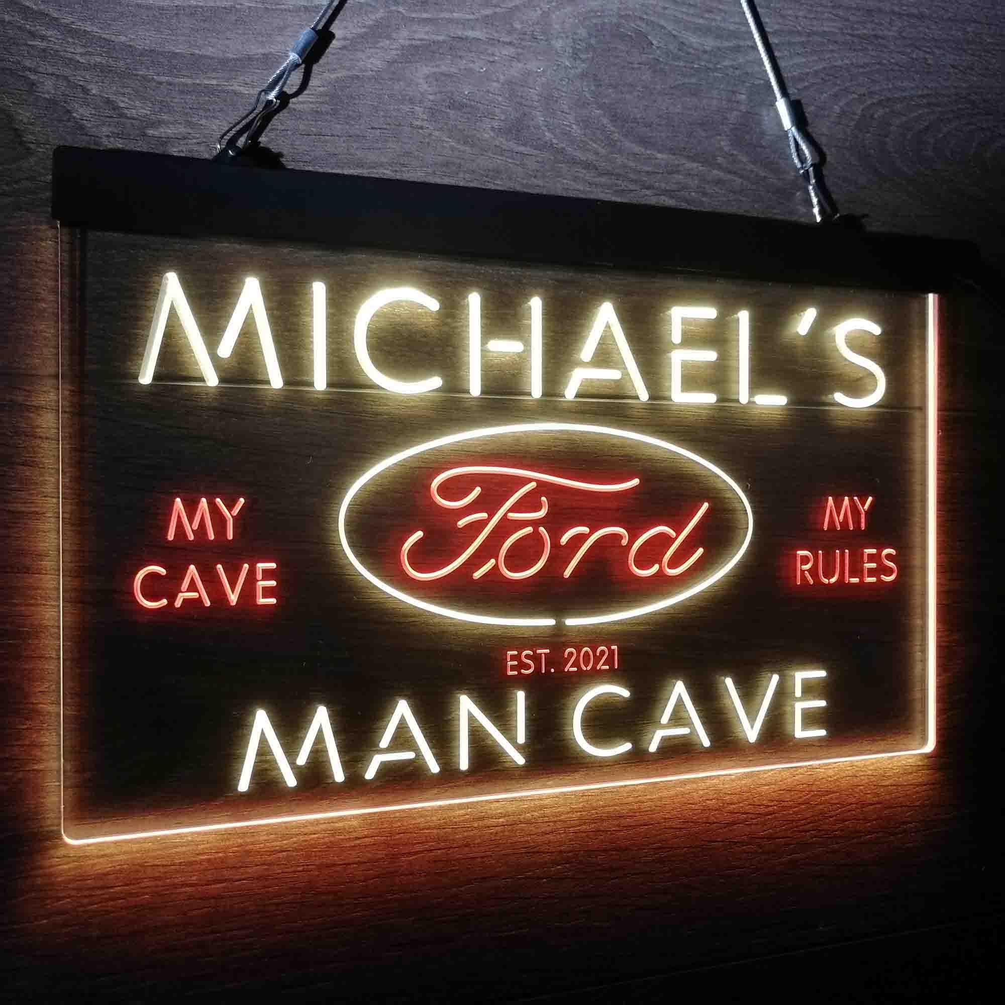 Custom Name Ford Badge Car Truck Bar Neon-Like LED Sign