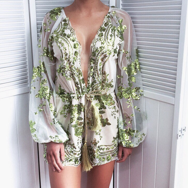 Myself green sequin playsuit