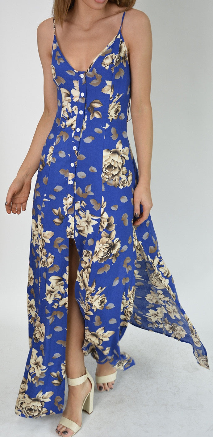 Stelly Blue Print Maxi Dress