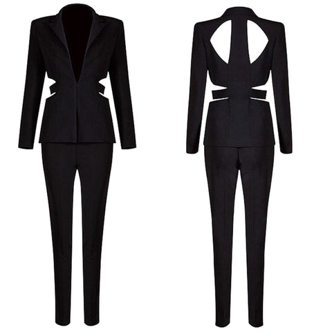 Pia black blazer and pant set