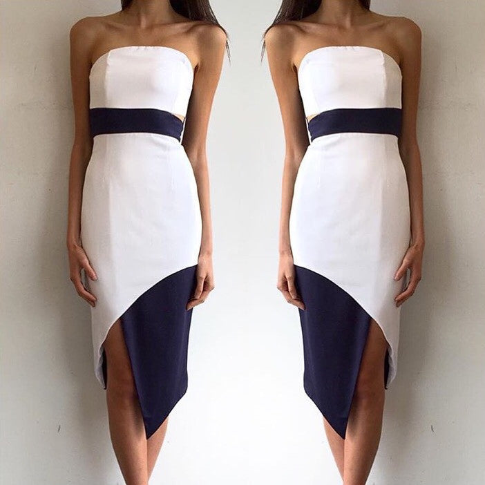 Caviar white and navy dress