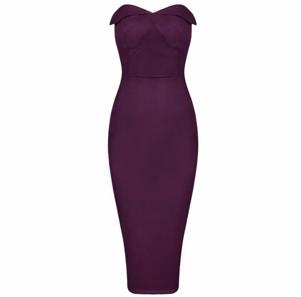 Tammy wine purple strapless dress