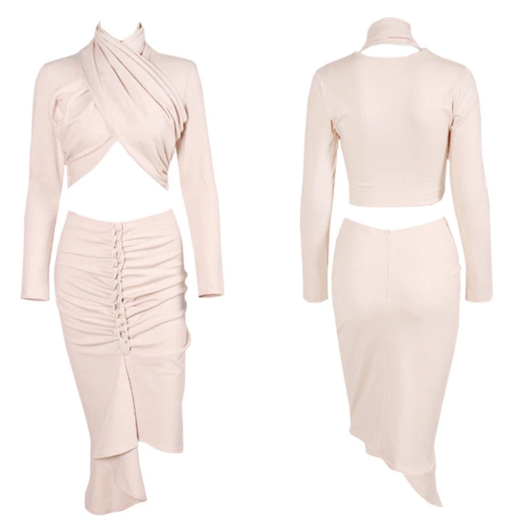Sage twist top and skirt nude set