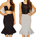 Melita black peplum skirt