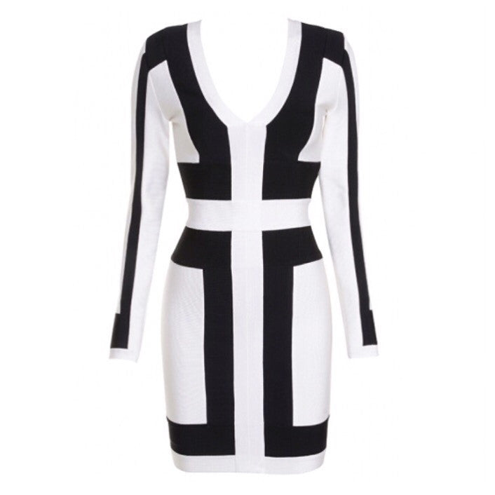 Allsorts White and Black long sleeve dress