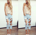 Sheridan light blue ripped boyfriend jeans