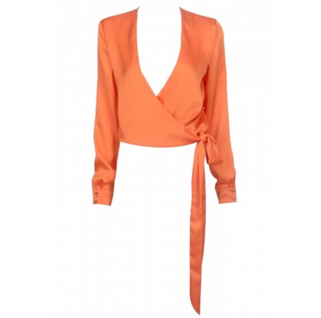 Queens orange crop blouse