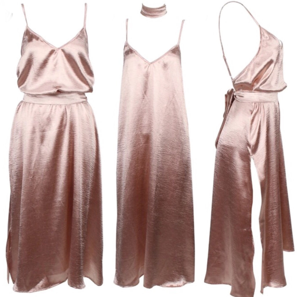 Sally silk champagne dress