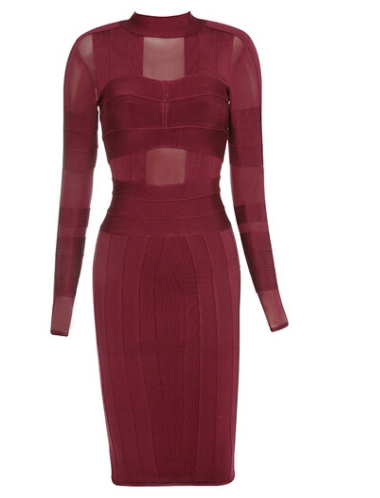 Balo wine red long sleeve dress