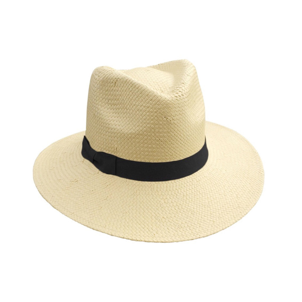 Candice Natural Fedora Black trim