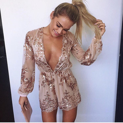 Myself Gold Sequin Playsuit