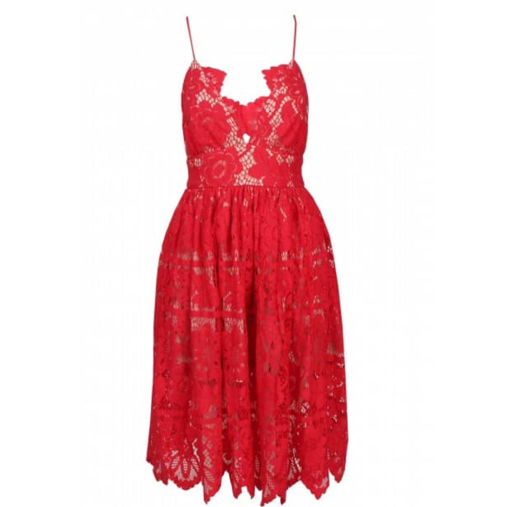 Sanchia red lace dress