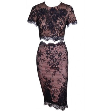 Sisley black lace top and skirt set