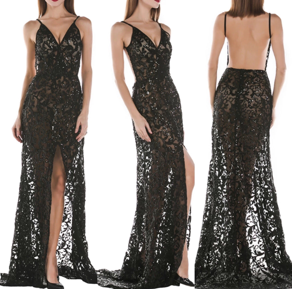 Lisa black maxi dress