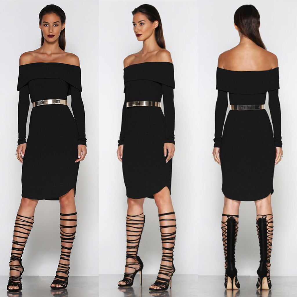 Off the hook black knit midi dress